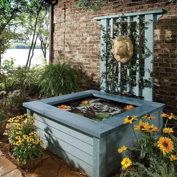 Wooden fountain and pool DIY