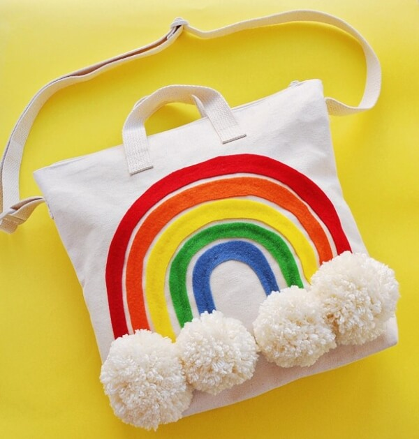 DIY Rainbow Pom Pom Tote Bag-Rainbow Crafts & Activities