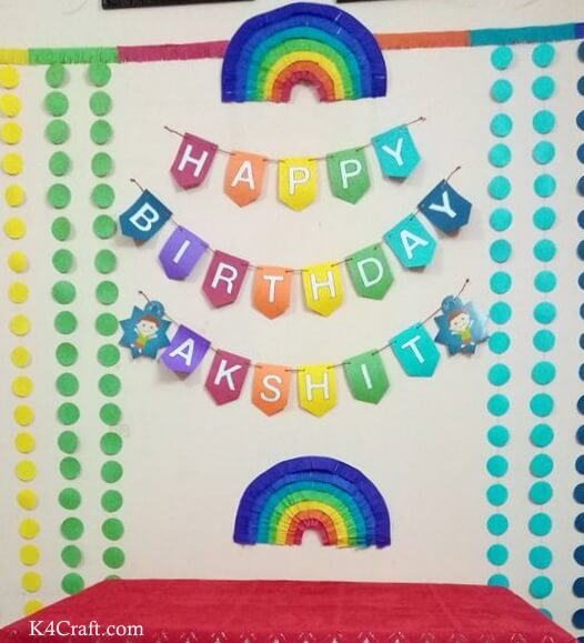 Rainbow Themed Backdrop For Birthdays