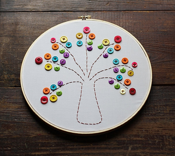 Embroidery Hoop Rainbow Tree-Rainbow Crafts & Activities