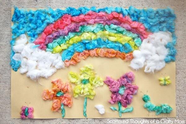 DIY Cotton Balls Art