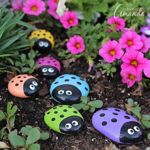DIY Ladybug Painted Rocks Garden Crafts ideas
