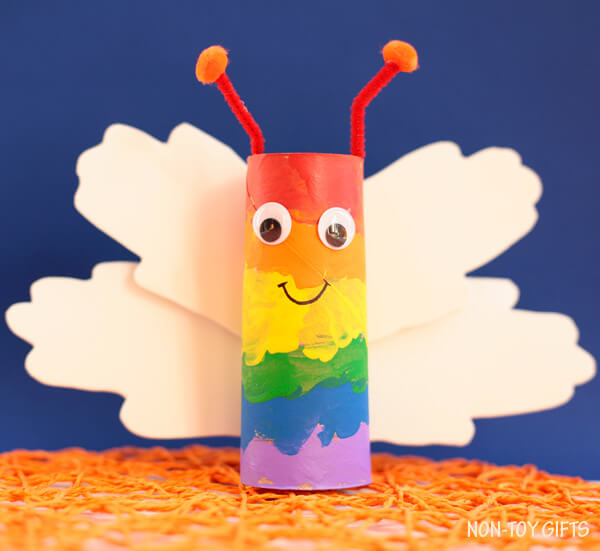 DIY Paper Roll Butterfly-Rainbow Crafts & Activities