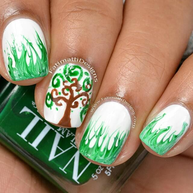 Earth Day with These Adorable Green Color Nail Art Designs