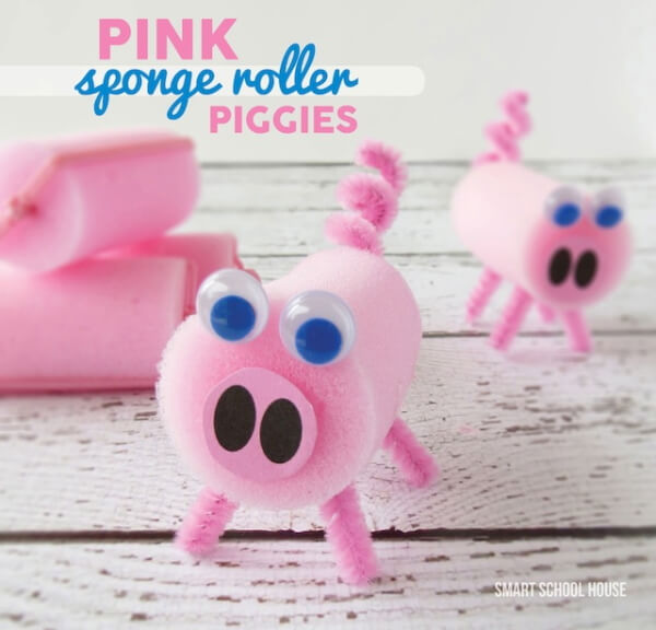 Making Pink Pigs using Sponge Rollers