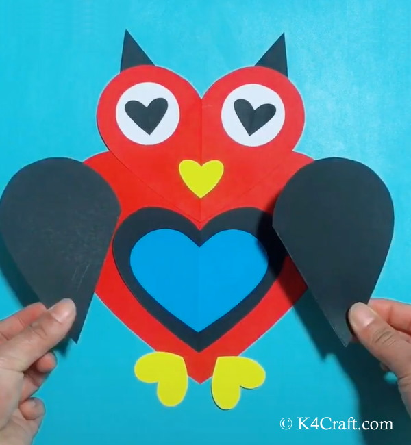 Paper Heart Shaped Owl Craft for Kids – Step by Step