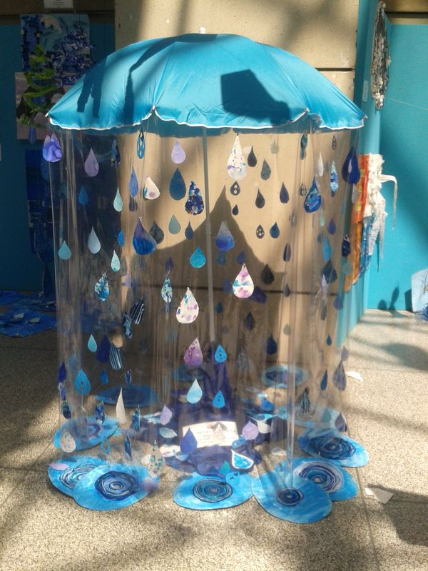 Rainy Season Theme Classroom Decoration Ideas for School - Umbrella And Faux Rain Drops Classroom Decor Ideas