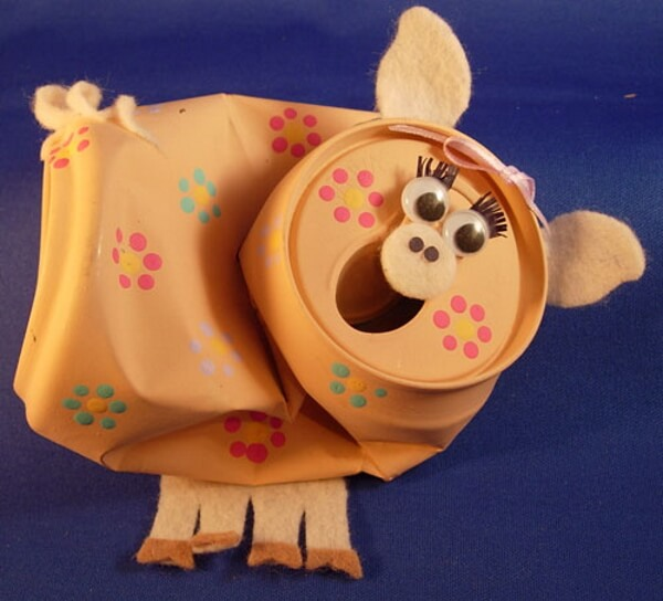 Tin Can Recycled Pig Craft