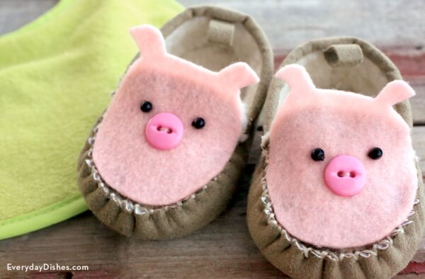 Cute Piggy Bathroom Slippers - DIY Pig Craft Ideas