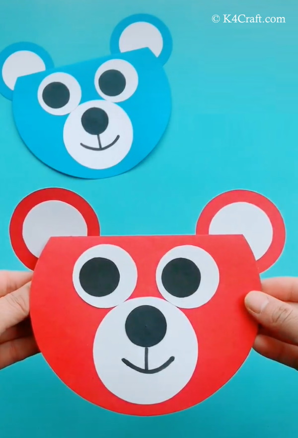 Paper Bear Card Craft for Kids - Step by Step