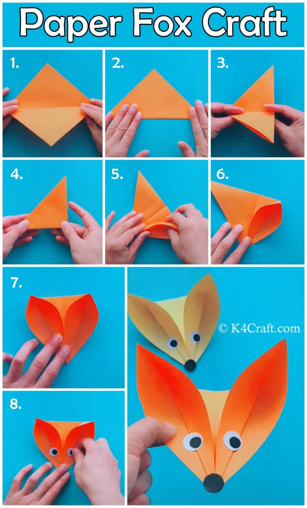 Origami fox face - How to make easy origami fox face tutorial ... | 1024x619