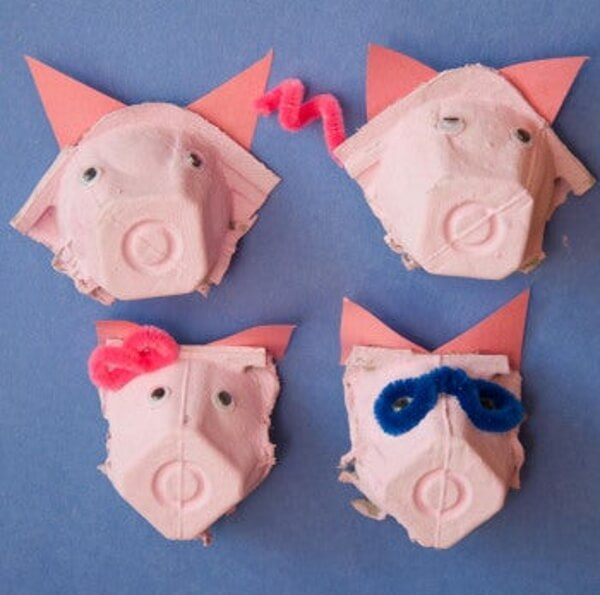 Pig craft ideas using Egg cartons