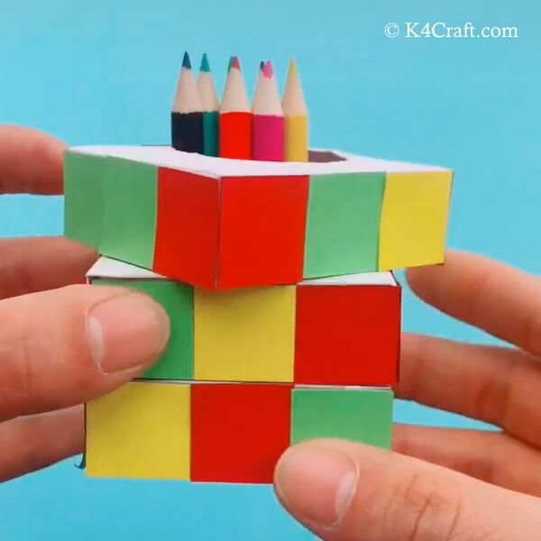 Rubik's Cube Pen Stand Craft For Kids - Step by Step