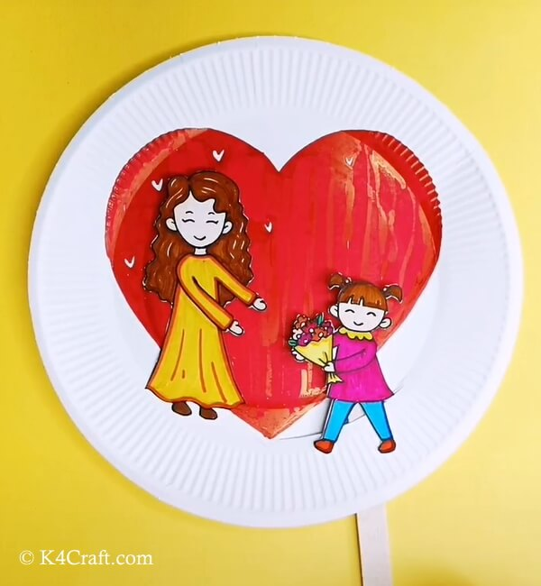 Mother's Day Paper Plate Puppet Craft For Kids