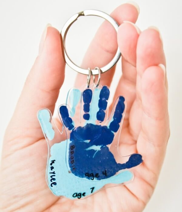 Creative Handprint Key Chain for Father
