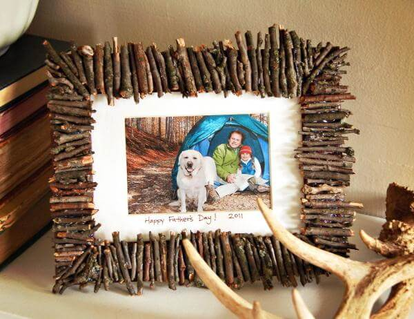 Twig Photoframe Father's Day Gift Craft Idea