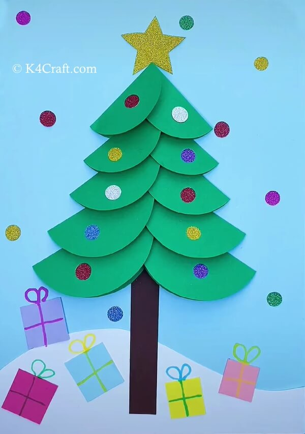 Paper Circle Christmas Tree Card for Kids – Step by Step Tutorial