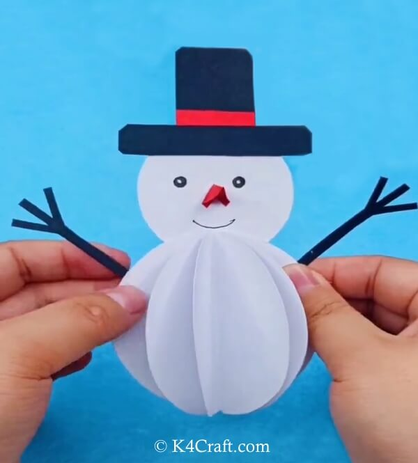 Snowman Paper Craft for Kids – Step by Step Tutorial